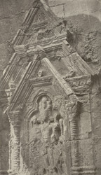 Kashmir. Temple of Marttand or the Sun. Niche in the interior. - Figure representing the Sun 16